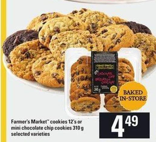 Farmer's Market Cookies - 12's or Mini Chocolate Chip Cookies - 310 g