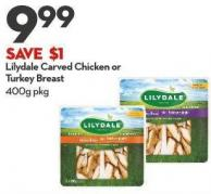 Lilydale Carved Chicken or  Turkey Breast 400g