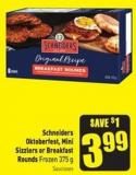Schneiders Oktoberfest - Mini Sizzlers or Breakfast Rounds Frozen 375 g Saucisses