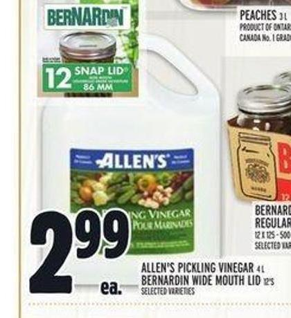 Allen's Pickling Vinegar 4 L Bernardin Wide Mouth Lid 12's