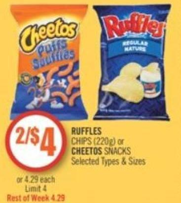 Ruffles   Chips (220g) or Cheetos Snacks