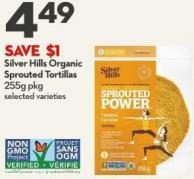 Silver Hills Organic  Sprouted Tortillas  255g Pkg