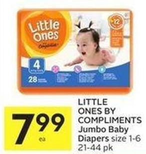 Little Ones By Compliments Jumbo Baby Diapers Size 1-6 21-44 Pk