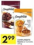 Compliments Raisins or Currants 375 g