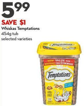 Whiskas Temptations 454g Tub