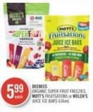 Deebees Organic Super Fruit Freezies - Mott's Fruitsations or Welch's Juice Ice Bars 636ml