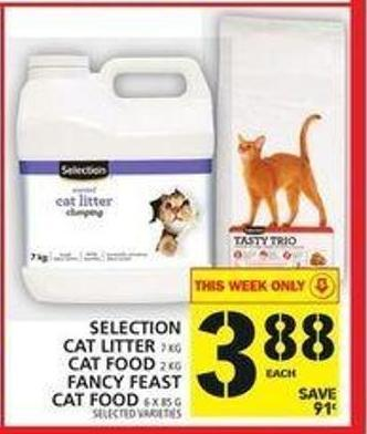 Selection Cat Litter Or Cat Food Or Fancy Feast Cat Food