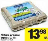 Nature Organic Eggs - Large - 30's