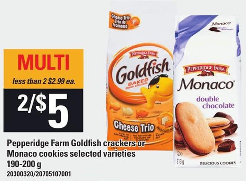 Pepperidge Farm Goldfish Crackers Or Monaco Cookies 190-200 g