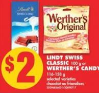 Lindt Swiss Classic - 100 g or Werther's Candy - 116-135 g