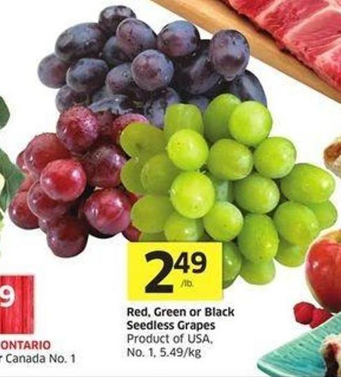 Red - Green or Black Seedless Grapes Product of USA - No. 1 - 5.49/kg