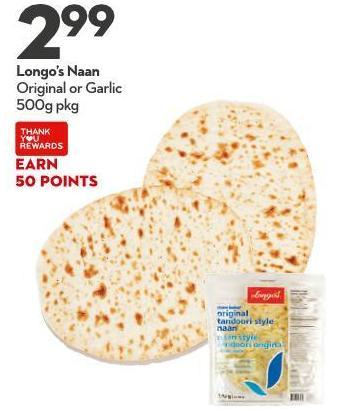 Longo's Naan Original or Garlic