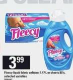 Fleecy Liquid Fabric Softener 1.47 L Or Sheets 80's