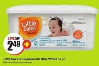 Little Ones By Compliments Baby Wipes 64 Pk