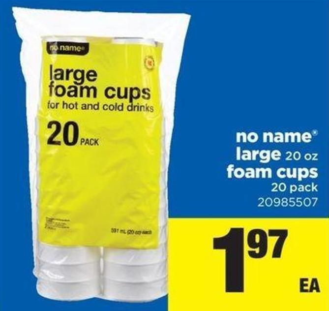 No Name Large - 20 Oz Foam Cups - 20 Pack
