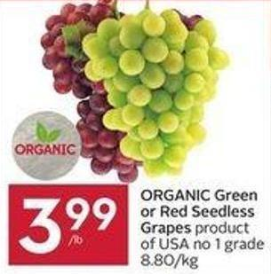 Organic Green or Red Seedless Grapes Product of USA No 1 Grade 8.80/kg