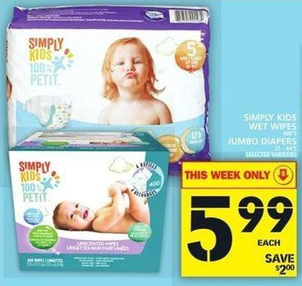Simply Kids Wet Wipes Or Jumbo Diapers