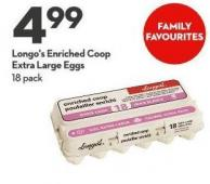 Longo's Enriched Coop  Extra Large Eggs 18 Pack