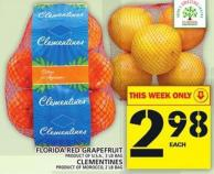Florida Red Grapefruit or Clementines