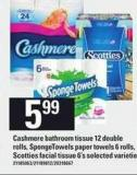 Cashmere Bathroom Tissue - 12 Double Rolls - Spongetowels Paper Towels - 6 Rolls - Scotties Facial Tissue - 6's