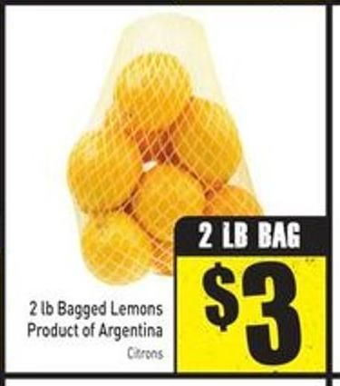 2 Lb Bagged Lemons Product of Argentina