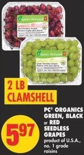 PC Organics Green - Black or Red Seedless Grapes - 2 Lb Clamshell