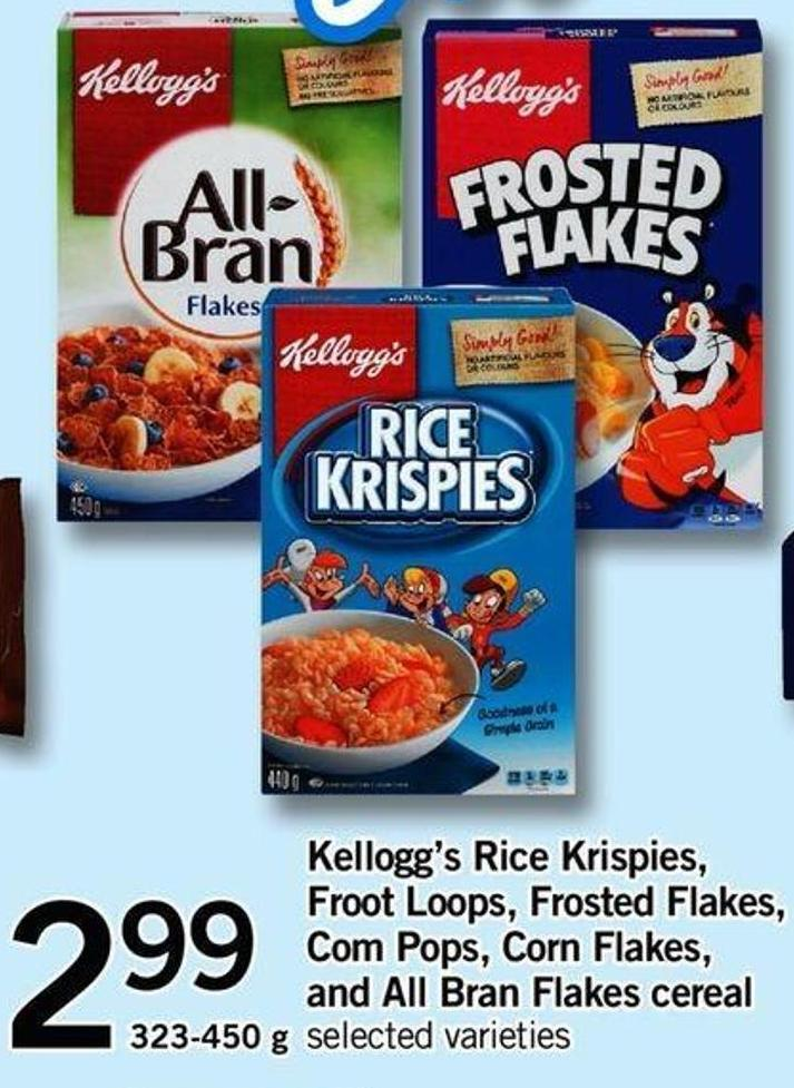 Kellogg's Rice Krispies - Froot Loops - Frosted Flakes - Com Pops - Corn Flakes - And All Bran Flakes Cereal - 323-450 G