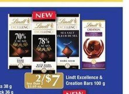 Lindt Excellence & Creation Bars - 100 g