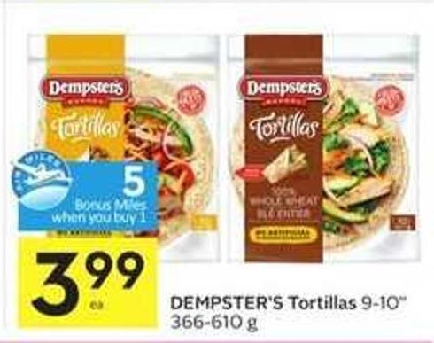 Dempster's Tortillas- 5 Air Miles Bonus Miles When You Buy 1