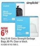 Simplicite Extra-strength Garbage Bags - 80-pk. Clear or Black
