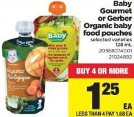 Baby Gourmet Or Gerber Organic Baby Food Pouches - 128 mL