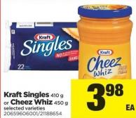 Kraft Singles - 410 G Or Cheez Whiz - 450 G