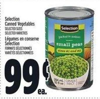 Selection Canned Vegetables