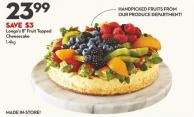 Longo's 8in Fruit Topped  Cheesecake 1.4kg