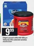 Folgers Ground Coffee 642-920 g Or Tetley Tea 216's