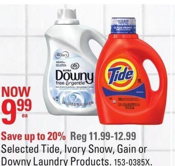 Selected Tide - Ivory Snow - Gain or Downy Laundry Products