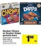 Quaker Chewy Or Quaker Dipps Granola Bars - 150-156 g