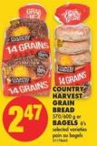 Country Harvest Grain Bread - 570/600 g or Bagels - 6's