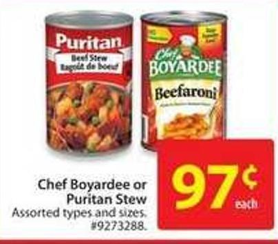 Chef Boyardee or Puritan Stew