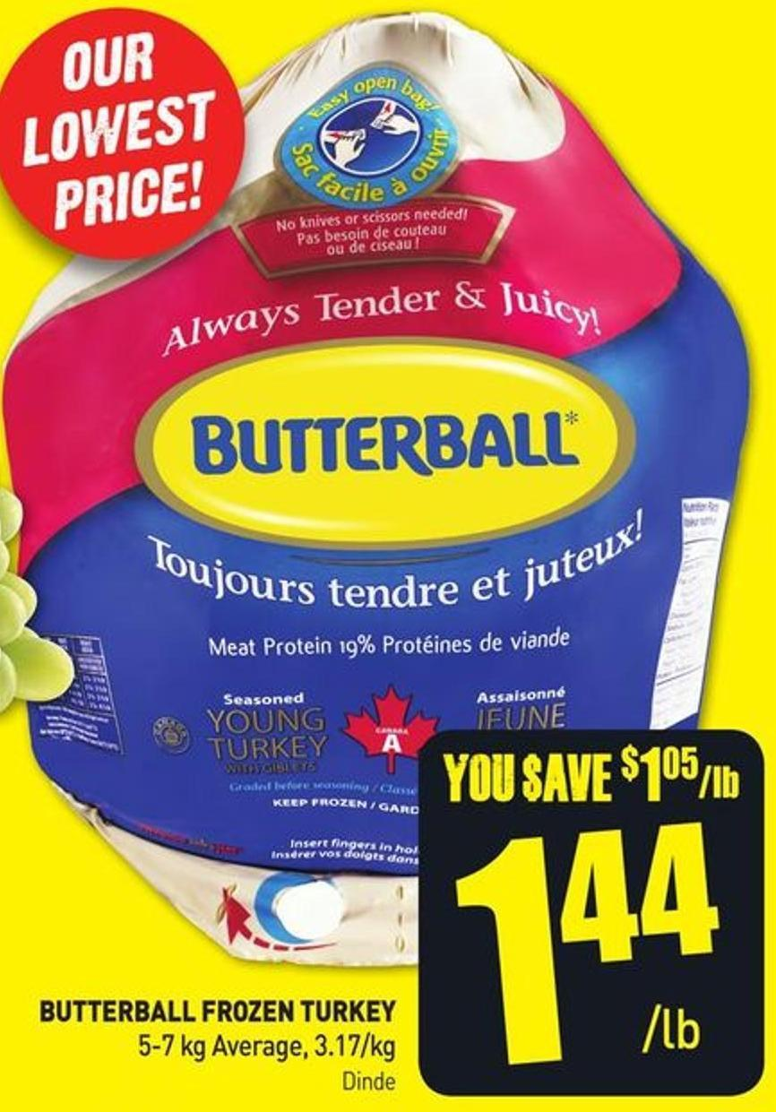 Butterball Frozen Turkey 5-7 Kg Average - 3.17/kg