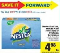Nestea Iced Tea - Minute Maid Refreshers Or Fruitopia Beverages - 12x341/355 mL