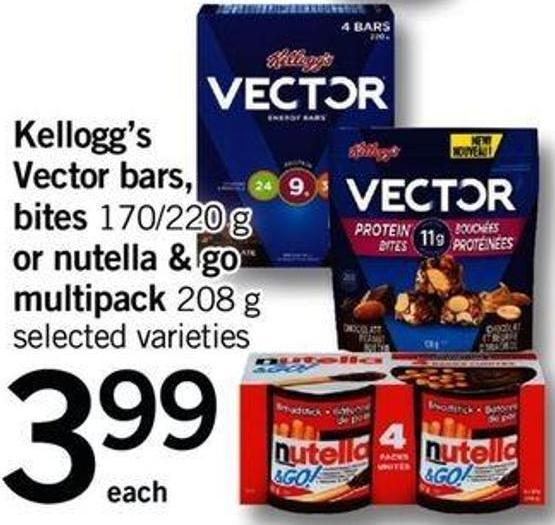 Kellogg's Vector Bars - Bites - 170/220 G Or Nutella & Go Multipack - 208 G