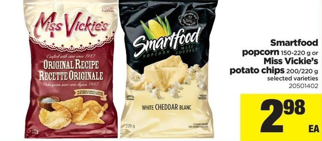 Smartfood Popcorn - 150-220 G Or Miss Vickie's Potato Chips - 200/220 G