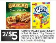 Nature Valley Sweet & Salty or Trail Mix Bars 175 g - Chewy or Crunchy 130-230 g - Cereal Bars 120-150 g or Betty Crocker Fruit Snacks 128-226 g