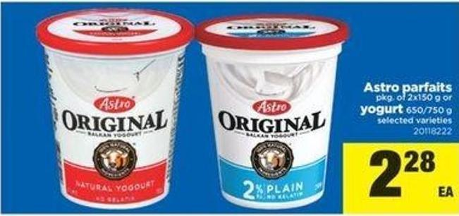 Astro Parfaits - Pkg Of 2x150 G Or Yogurt 650/750 G