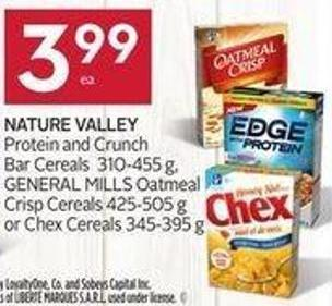 Nature Valley Protein and Crunch Bar Cereals 310-455 g - General Mills Oatmeal Crisp Cereals 425-505 g or Chex Cereals 345-395 g - 40 Air Miles Bonus Miles