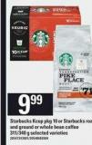 Starbucks Kcup - Pkg 10 Or Starbucks Roast And Ground Or Whole Bean Coffee - 311/340 G