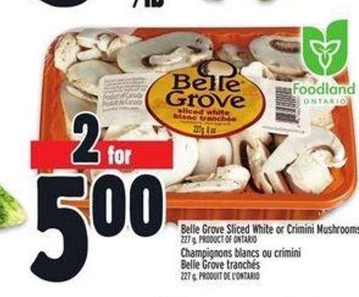 Elle Grove Sliced White Or Crimini Mushrooms