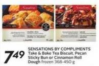 Sensations By Compliments Take & Bake Tea Biscuit - Pecan Sticky Bun or Cinnamon Roll Dough