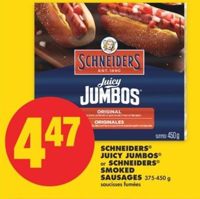 Schneiders Juicy Jumbos Or Schneiders Smoked Sausages 375-450 G